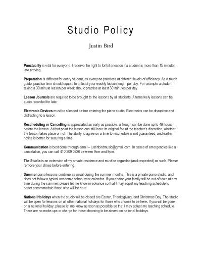 Justin Bird - Studio Policy